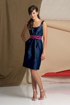 Settled on a bridesmaid dress! Navy with a bougainvillea sash. Watters.com