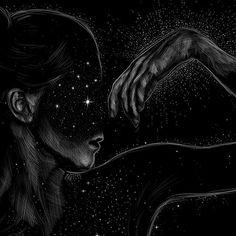Dark Fantasy, Fantasy Art, Art Inspo, Painting Inspiration, Black Paper Drawing, Scratchboard Art, Star Art, Moon Art, Art And Illustration