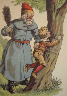 """Got a request for all the """"mean Santa"""" images. Here are a bunch, some Santa, some Pere Fouettard, who isn't really St. Nickolas, but more like a French Krampus/Knecht Ruprecht. German Christmas, Noel Christmas, Victorian Christmas, Father Christmas, Vintage Christmas Cards, Xmas Cards, Vintage Cards, Vintage Holiday, Greeting Cards"""