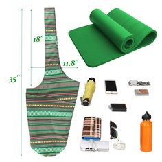 Savanaha Yoga Mat Bag  Yoga Mat Tote Sling Carrier  Large Side Pocket  Fits Most Size MatsGreen ** Click image to review more details. (This is an affiliate link)