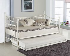 Cheap New Versailles French Metal Day Bed With FREE Guest Trundle Black White