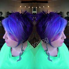 Bright color pravana purple hair blue hair color fade mermaid hair short hair pixie cut Short Bob Hairstyles, Cool Hairstyles, Haircut Short, Hair Color Purple, Bright Purple, Blue Ombre, Pastel Blue, Hair Colors, Blond Beige