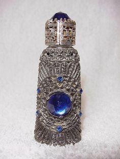 Vintage Czech Irice Jeweled & Silver Filigree Perfume Bottle