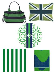 preppy navy and green - love the pillow and purse!!