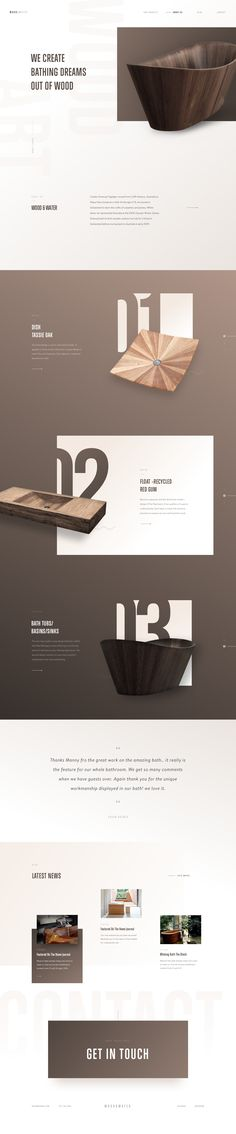 Wood&Water - design concept for a homepage dedicated to sinks and bathtubs, by Martin Strba. Web Design Mobile, Web Ui Design, Resume Design, Page Design, Branding Design, Design Design, Website Design Inspiration, Layout Inspiration, Web Layout