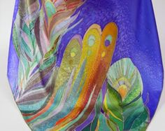 Purple Green Silk Shawl Hand Paint Square Silk by SilkFantazi