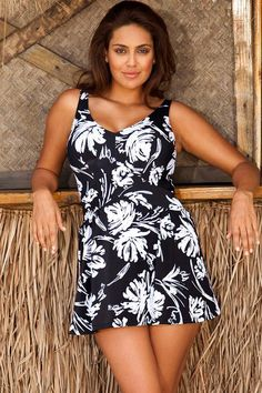 V Neck Swimdress - Angelique Plus size swimwear