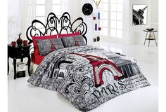 4 pcs Paris Eiffel Tower New York  QUEEN Double Bedding Duvet Cover Set #Handmade