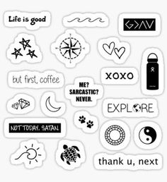 Stickers: Aesthetic - Black and White Sticker Pack Sticker - Stickers Cool, Preppy Stickers, Cute Laptop Stickers, Bubble Stickers, Phone Stickers, Kawaii Stickers, Brand Stickers, Macbook Stickers, Kalender Design