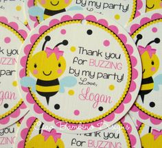 NEW - Happy BEE-Day - Bumble Bee Favor Tags - Coordinating Party Decor Available. $6.00, via Etsy.
