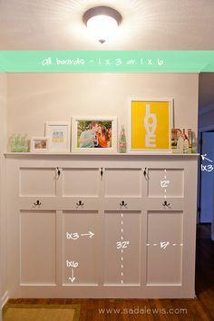 DIY Board & Batten Entry Way Tutorial - Measurements.  Do this in the hallway.