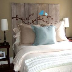 Obsessed with this wooden painted headboard