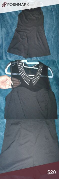 romper Black studded collar romper. Sheer bust.shorts. side zipper. Never worn. New with no tags. size large super cute !!! sweet rain Other