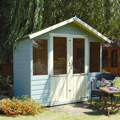 7 x 10 FT Wooden Shiplap Garden Summerhouse Office. A great shiplap constructed garden cabin from Westmount Living. Suppliers of a wide choice of shiplap, tongue and groove and machined log cabins. Summer Houses Uk, Wooden Summer House, Small Summer House, Summer House Garden, Wooden House, Shed Design Plans, Shed Plans, Kids Wooden Playhouse, Playhouse Ideas