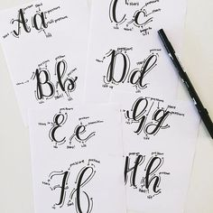 Do you guys like the mini letter tutorial videos I've been making? I've been using a Tombow Dual Brush, which is different than the pen I used to create the - it's making me want to recreate the book with these because I forgot how much I lov Calligraphy Doodles, Calligraphy Tutorial, Calligraphy Handwriting, Doodle Lettering, Creative Lettering, Lettering Tutorial, Calligraphy Letters, Typography Letters, Brush Lettering