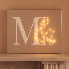 Mr & Mrs Light Up Canvas