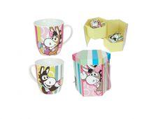 PICAT SET 2 TAZZE CON SCATOLA. Set due tazze in ceramica con disegno di un asinello racchiuso in una scatola esagonale colorata e manico con corda