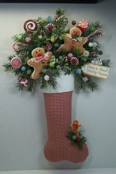swags wreaths christmas | Christmas Stocking Gingerbread Wreath Swag Primitive Door Wall Mantel ...