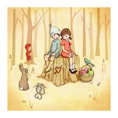 Belle and Boo with forest friends