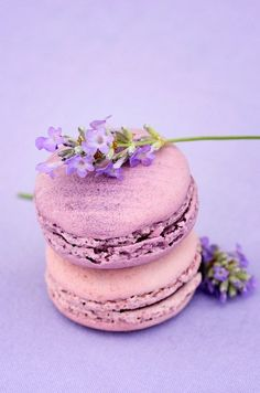 Rose macarons and lavender