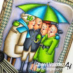 Copic colors used:  skin- E00, E000, R20, E11 hair- C7, C5, C3 (black) E18, E09, E07, E02 (red) black details- C7, C5, C3 light brown details- E44, E43, E42, 0 yellow green details- YG17, YG13, YG01 blue green details- Bg09, BG05, BG10 ground- BV29, BV25, BV23 background- BV34, BV31, BV000, BV0000 The Ink Trap: Under My Umbrella from Art Impressions!