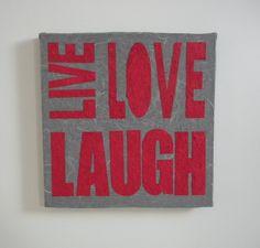 home decor - live love laugh - pannello decorativo 30x30  www.fukumaneki.it