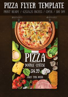 #Pizza Flyer Template - Events #Flyers Download here: https://graphicriver.net/item/pizza-flyer-template/16070476?ref=alena994
