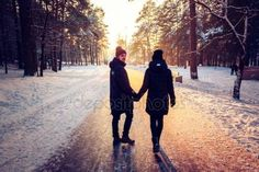 Download - Couple Holding Hands Walking Away. Winter, Sunny, Forrest, Recreation, Leisure, Clothing. — Stock Image #138513210