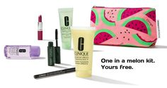 A free 7-piece Clinique kit direct from Clinique with any $45 purchase. Use offer code JELLY to receive the kit with Hydrating Jelly or LOTION to receive the kit with DDML+. Clinique Gift, Debenhams, Cosmetic Bag, Free Gifts, Lotion, Lipstick, Cosmetics, Kit, Jelly
