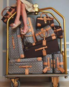 I'm with the luggage, we may need the van. I don't think the jag will hold all my bags. Lolita Lempicka, Pack Your Bags, My Bags, Travel Luggage, Travel Bags, Vuitton Bag, Louis Vuitton, Luxury Life, Luxury Travel