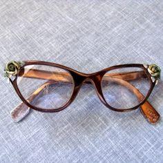 Vintage Tura Metal Eye Glasses Cat Eye Frames 1950s  by SweetRepeatVintage, $35.00