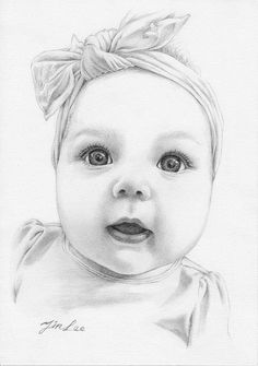 Custom portrait, baby girl or family pencil portrait drawing from a photo. - - Custom portrait, baby girl or family pencil portrait drawing from a photo. drawing Custom baby girl or family pencil portrait drawing from a Portrait Au Crayon, Pencil Portrait Drawing, Pencil Art Drawings, Art Drawings Sketches, Rose Drawings, Drawing Art, Animal Drawings, Baby Girl Drawing, Cute Baby Drawings