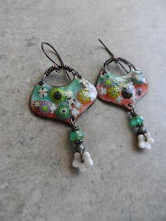 Melon Blossoms ... Artisan-Made Enameled Copper Glass