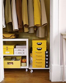 Set up an office-supply storage system:  Create a wheeled cart and a dolly by affixing casters to ready-made shelving pieces (available at home and hardware stores). |  Martha Stewart ml1104_closet_storage.jpg
