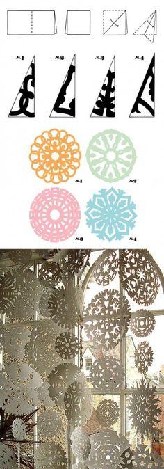 Como hacer copos de nieve de papel/ As making paper snowflakes design -. - Como hacer copos de nieve de papel/ As making paper snowflakes design – onokwildyard – - Paper Snowflake Template, Paper Snowflake Patterns, Snowflake Designs, Diy Snowflakes, Snowflake Diy Paper, Making Paper Snowflakes, Holiday Crafts, Fun Crafts, Christmas Crafts