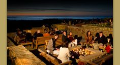 The Inn at Spanish Bay, Pebble Beach, CA- Outdoor patio with fire pits. Friendly service, spectacular views, good food and drink! At sunset, they have a bag pipe player in a kilt roam the golf course and property.  Love this place!