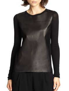 Gallery Leather Vest, Black Leather, Merino Wool Sweater, Black Sweaters, Swatch, Tunic Tops, My Style, Blouse, How To Wear