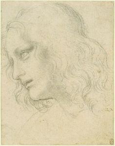 The head of St Philip in the Last Supper, Leonardo da Vinci (Vinci 1452-Amboise 1519) (artist) , c.1495 ,  Black chalk
