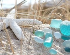Beach glass and starfish~ the colors, theme, and beauty I want to bring  into my bedroom.