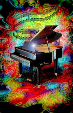 """Psychedelic Baby Grand"" by JT Digital Art.....let the music guide you to the world, the only world were you can be free with no lies in the air, lets be together truthfully ."