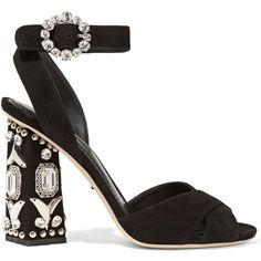 Dolce & Gabbana Bianca embellished suede sandals (7.640 RON) ❤ liked on Polyvore featuring shoes, sandals, heels, d&g, black, black strap sandals, strappy sandals, buckle sandals, block heel shoes and peep toe sandals