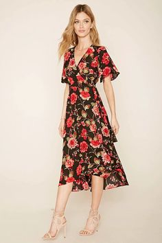 Forever 21 Contemporary - A woven floral print wrap dress complete with a self-tie sash waist forming a V-neckline and short sleeves. #f21contemporary