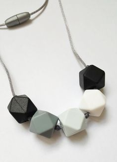 Geometric Silicone Teething Necklace, Silicone Beads Nursing Necklace, Hexagon Silicone Beads, For Mom and Baby
