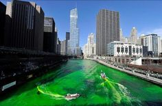 Green dyed Chicago River, St Patrick's Day