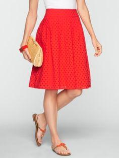 Talbots - Pleated Dot Eyelet Skirt | Skirts  | Misses