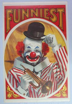 """Vintage Large 25""""x38"""" Circus Poster Lithograph Featuring Funniest Carnival Clown 
