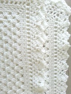 White crochet christening baptism baby blanket with fancy edge ~ found on Etsy by jesjaymat ~ she SELLS it ~ very pretty! Square Patterns, Baby Patterns, Crochet Patterns, Crochet Borders, Free Crochet, Crochet Baby, Knitted Baby, Christening Blanket, Crochet Blanket Edging