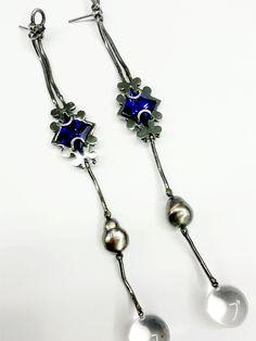 Below, earrings oxidized silver, purple zircon, pearl gray, hyaline quartz#ZERO43