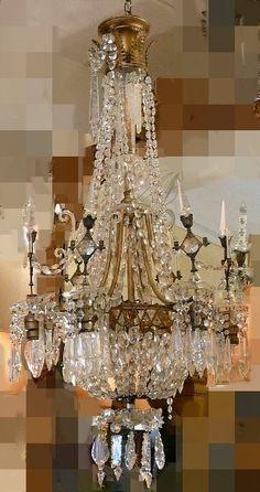 Unusual Antique Crystal & Bronze Chandelier