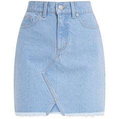 Hanele Light Wash Fray Hem Denim Mini Skirt ($31) ❤ liked on Polyvore featuring skirts, mini skirts, bottoms, short denim skirts, denim skirt, denim miniskirt and short skirts